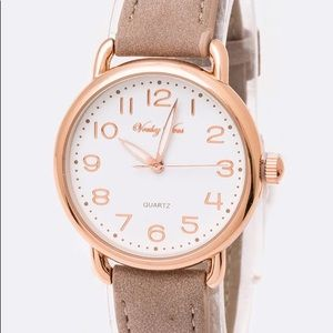 Accessories - Taupe Leather Quartz Female Watch
